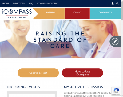 Screen capture of IHC's iCompass forum dashboard